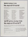 View Flyer soliciting pledges to stand against South African Apartheid digital asset number 1