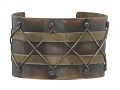 View Copper and brass diamond design cuff by Winifred Mason Chenet digital asset number 0
