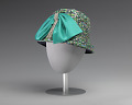View Jewel toned fabric hat with teal bow embellishment from Mae's Millinery Shop digital asset number 2