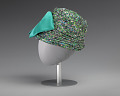 View Jewel toned fabric hat with teal bow embellishment from Mae's Millinery Shop digital asset number 3