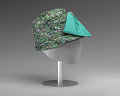 View Jewel toned fabric hat with teal bow embellishment from Mae's Millinery Shop digital asset number 0