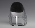 View Black velvet cap with net veil and rhinestone pin from Mae's Millinery Shop digital asset number 2
