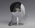 View Black velvet cap with net veil and rhinestone pin from Mae's Millinery Shop digital asset number 3