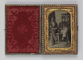 View Tintype of two seated men in wooden and velvet case digital asset number 0