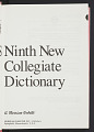 View <I>Webster's Ninth New Collegiate Dictionary</I> digital asset number 6