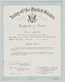 View U.S. Army Certificate of Service issued to Lt. Colonel Charles J. Blackwood digital asset number 0