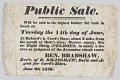 View Broadside announcing the sale of enslaved persons in Mercer County, Kentucky digital asset number 0