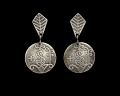 View Silver earrings with Vodou veve designed by Winifred Mason Chenet digital asset number 0