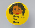 "View Pinback button with ""Happy I'm Nappy"" and image of a woman with locked hair digital asset number 0"