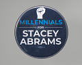 "View Pinback button reading ""Millennials for Stacey Abrams"" digital asset number 0"