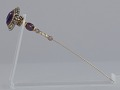 View Purple, gold, and rhinestone hat pin from Mae's Millinery Shop digital asset number 2