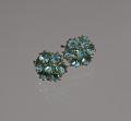 View Pair of teal rhinestone flower earrings from Mae's Millinery Shop digital asset number 0
