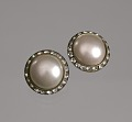 View Circular pearl and rhinestone earrings from Mae's Millinery Shop digital asset number 0