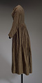 View Brown and cream striped day dress from the Civil War era digital asset number 2