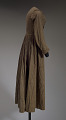 View Brown and cream striped day dress from the Civil War era digital asset number 3