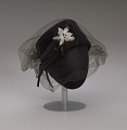 View Black felt hat with veil and ivory bead decoration from Mae's Millinery Shop digital asset number 8