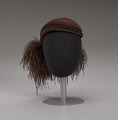 View Dark brown wool felt cap with ostrich plumes from Mae's Millinery Shop digital asset number 8