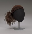 View Dark brown wool felt cap with ostrich plumes from Mae's Millinery Shop digital asset number 0