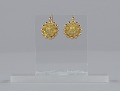 View Pair of tété négresse style gold earrings with yellow stones digital asset number 2