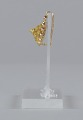 View Pair of tété négresse style gold earrings with yellow stones digital asset number 3
