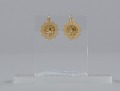 View Pair of tété négresse style gold earrings with yellow stones digital asset number 4