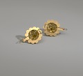 View Pair of tété négresse style gold earrings with yellow stones digital asset number 8