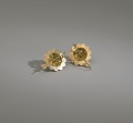 View Pair of tété négresse style gold earrings with yellow stones digital asset number 9