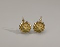 View Pair of tété négresse style gold earrings with yellow stones digital asset number 10