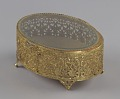 View Gold metal scrollwork jewelry box from Mae's Millinery Shop digital asset number 0