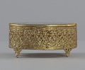 View Gold metal scrollwork jewelry box from Mae's Millinery Shop digital asset number 1