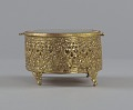 View Gold metal scrollwork jewelry box from Mae's Millinery Shop digital asset number 2