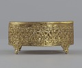 View Gold metal scrollwork jewelry box from Mae's Millinery Shop digital asset number 3