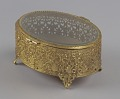 View Gold metal scrollwork jewelry box from Mae's Millinery Shop digital asset number 5
