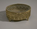View Gold metal scrollwork jewelry box from Mae's Millinery Shop digital asset number 9