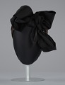 View Black satin turban with red flowers and black bow from Mae's Millinery Shop digital asset number 2