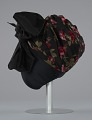 View Black satin turban with red flowers and black bow from Mae's Millinery Shop digital asset number 3