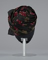 View Black satin turban with red flowers and black bow from Mae's Millinery Shop digital asset number 4