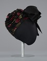 View Black satin turban with red flowers and black bow from Mae's Millinery Shop digital asset number 5