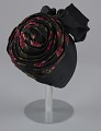 View Black satin turban with red flowers and black bow from Mae's Millinery Shop digital asset number 6
