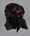 View Black satin turban with red flowers and black bow from Mae's Millinery Shop digital asset number 7
