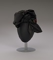 View Black satin turban with red flowers and black bow from Mae's Millinery Shop digital asset number 8