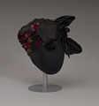 View Black satin turban with red flowers and black bow from Mae's Millinery Shop digital asset number 0