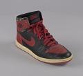 View Pair of red and black Air Jordan I high top sneakers made by Nike digital asset number 4