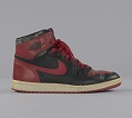 View Pair of red and black Air Jordan I high top sneakers made by Nike digital asset number 5