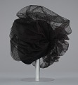 View Black cap with netted lace and silver flower brooch from Mae's Millinery Shop digital asset number 3