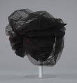 View Black cap with netted lace and silver flower brooch from Mae's Millinery Shop digital asset number 4