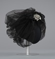 View Black cap with netted lace and silver flower brooch from Mae's Millinery Shop digital asset number 5