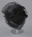 View Black cap with netted lace and silver flower brooch from Mae's Millinery Shop digital asset number 6