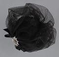 View Black cap with netted lace and silver flower brooch from Mae's Millinery Shop digital asset number 7