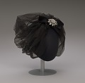 View Black cap with netted lace and silver flower brooch from Mae's Millinery Shop digital asset number 8